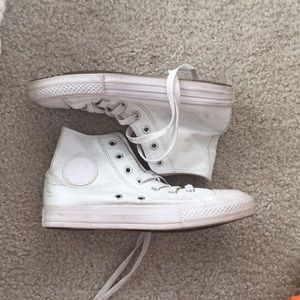 White leather high top converse